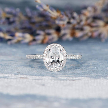7*9mm Oval Cut White Topaz Engagement Ring