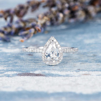 5*7mm Pear Cut White Sapphire Engagement Ring