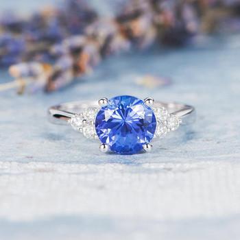 7.5mm Round Cut Tanzanite Engagement Ring Cluster Ring