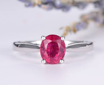 6*7 Oval Cut Pink Tourmaline Engagement Ring Wedding Ring