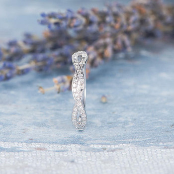 Infinity Ring Diamond Unique Wedding Band