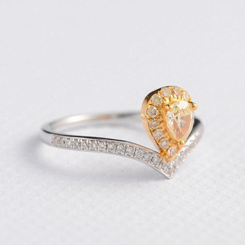 4*5mm Pear Cut Yellow Diamond Ring  Engagement Ring