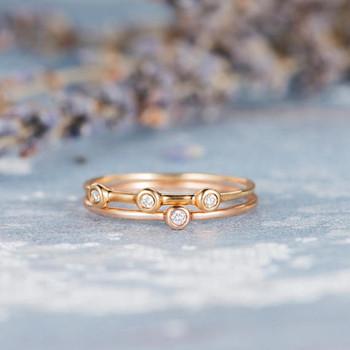 Open Stacking Bezel Set Diamond Ring Set