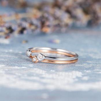 2pcs Bezel Set Diamond Engagement Ring Set