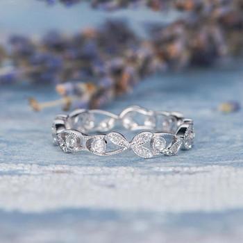 Unique Twig Ring Antique Leaf Flower Diamond Wedding Band