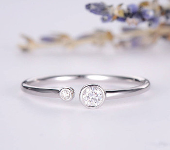 Diamond Open White Gold Ring Bezel Set Promise ring