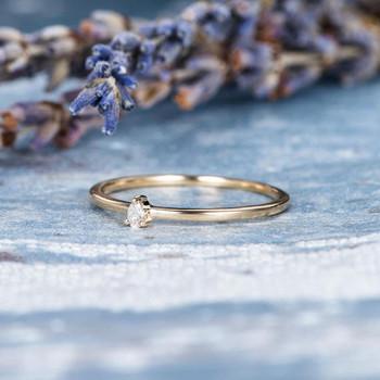 Pear Shaped Diamond Engagement Wedding Ring