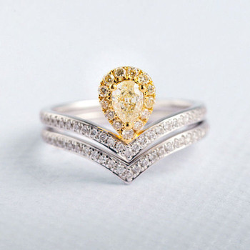 Yellow Diamond 4*5mm Pear Cut Unique Bridal Set
