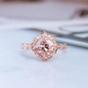 7mm Cushion Cut Art Deco Wedding Morganite Ring