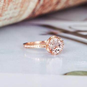 Floral Flower Bridal Wedding 6.5mm Round Morganite Ring