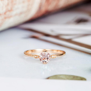 Art Deco Diamond Wedding 5mm Round Cut Morganite Ring