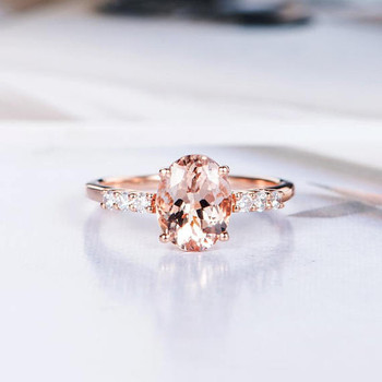 Unique 7*9mm Oval Cut Morganite Bridal Engagement Ring