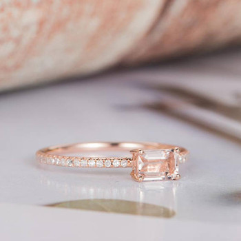 0.22ct Emerald Cut Morganite Promise Ring