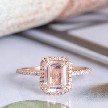 6*8mm Emerald Cut Morganite Rose Gold Wedding Ring