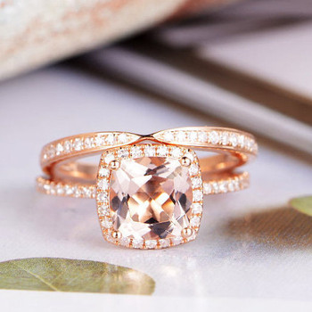 Wedding Diamond 7mm Cushion Cut Morganite Engagement Ring Set