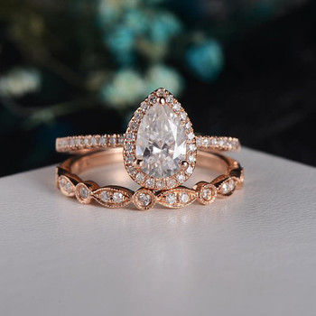 Rose Gold  6*9mm Pear Cut Moissanite Engagement Ring Set