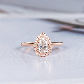 5*7mm Pear Shaped Bezel Moissanite Engagement Ring