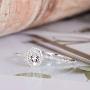6*8mm Oval Cut Halo Diamond Moissanite Ring Set