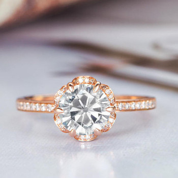 Flower Shaped Halo Diamond  6.5mm Round Moissanite Engagement Ring