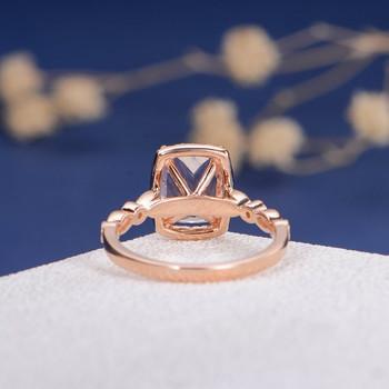 6*8mm Cushion Cut Rose Gold Morganite Engagement Ring