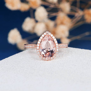7*10 Pear Shape Peachy Pink Morganite Engagement Ring Rose Gold