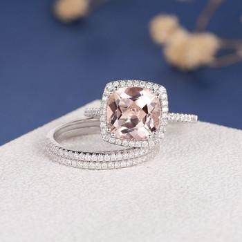 White Gold 9mm Cushion Cut Diamond Wedding Morganite Ring Set