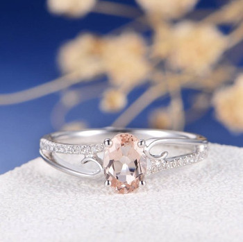 White Gold  5*7 Oval Morganite Engagement Ring Bridal Anniversary Gift