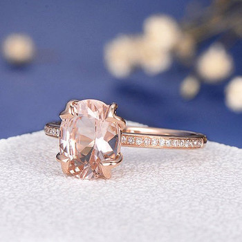 7*9mm Oval Cut  Antique Morganite Engagement Ring