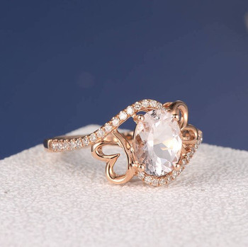 6*8mm Oval Cut  Butterfly Pink Morganite Curved Diamond Eternity Promise Ring