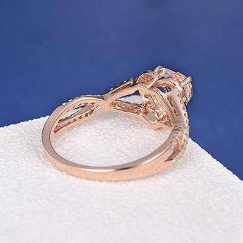 6mm Heart Shaped Morganite Ring Split Shank Eternity  Anniversary Promise  Ring