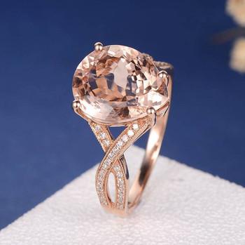 8*12mm Pear Shaped Big Morganite Split Shank Wedding Ring