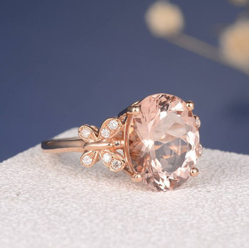 10*12mm Oval Cut Big Unique Butterfly Morganite Engagement Ring