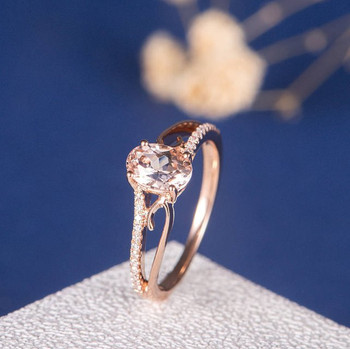 Rose Gold 5*7 Oval Morganite Engagement  Anniversary Ring