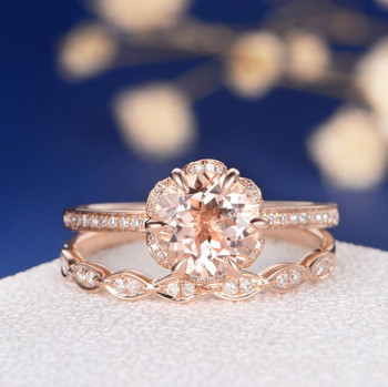 7mm Round Flower Morganite Rose Gold Wedding Ring Set