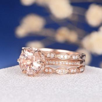 7mm Round Flower Morganite Rose Gold Wedding Ring Set 3 psc