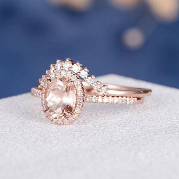 6*8mm Oval Cut Morganite  Eternity Retro Halo Engagement Ring
