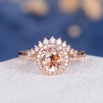 7mm Round  Morganite Halo Diamond  Wedding Ring Set