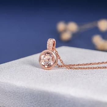 Rose Gold Necklace  8mm Peachy Morganite Pendant