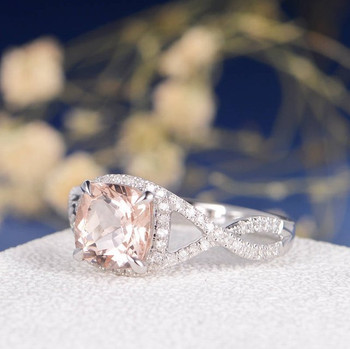 White Gold 8mm Cushion Cut Morganite Infinity Diamond Pave Halo Promise Ring