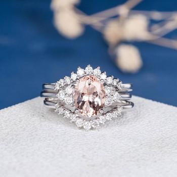 White Gold 7*9mm Oval Cut Morganite Cluster Diamond Ring 3psc