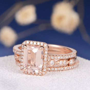 6*8mm Emerald Cut Morganite Bridal Set Eternity Band Stacking
