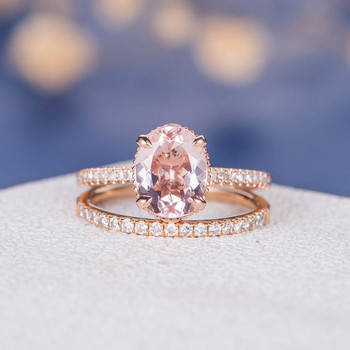 7*9mm Oval Cut Morganite Wedding Ring Anniversary Stacking 2pcs