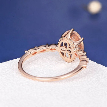 7*9mm Oval Cut  Morganite Art Deco Flower Engagement Ring