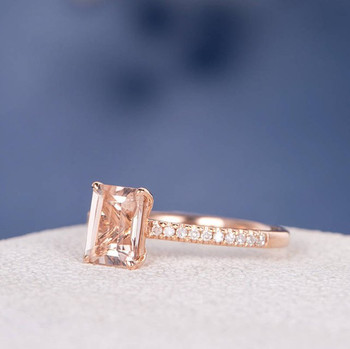 5*7 Emerald Cut  Morganite  Anniversary Solitaire  Engagement Ring
