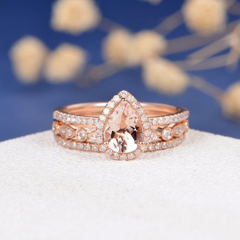 6*8mm Pear Cut Morganite Bridal Set Art Deco Wedding Band