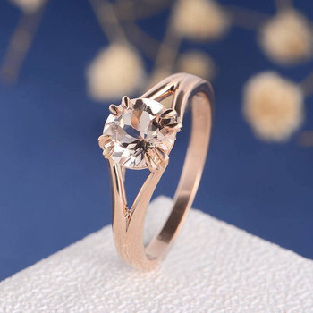 7mm Round Cut  Morganite Anniversary Solitaire Engagement Ring