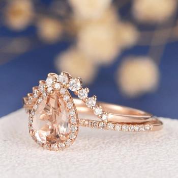 6*8mm Pear Cut  Morganite Halo Diamond  Wedding Ring Set