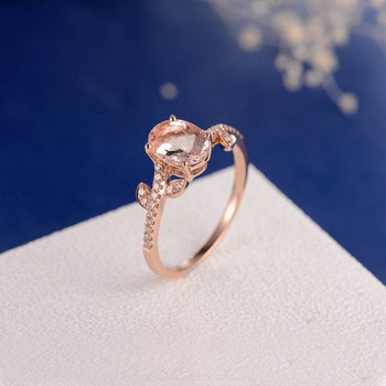 6*8mm Oval Cut Morganite Flower Inspired Engagement Ring