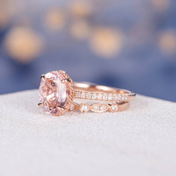 7*9mm Oval Cut Morganite Wedding Ring Anniversary 2pcs