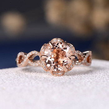 7mm Round Morganite  Infinity  Unique Flower Shaped Engagement Ring